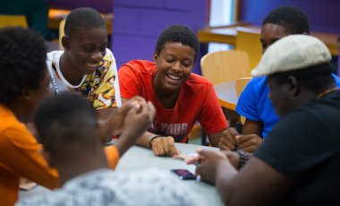 Young people enjoy a ROOTS workshop, Cascadoo.